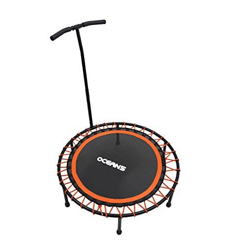 Ocean5 Power Jump 200 Fitness-Trampolin mit Haltegriff, Gesundheitstrampolin, 98 cm Ø, belastbar bis 120 kg, Farbe: orange