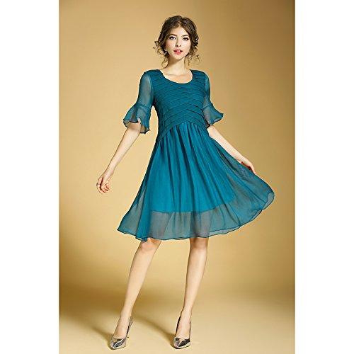 JIALELE Frauen täglich Ausgehen niedlich lässig Chiffon knielangen kleid, solide runden Ausschnitt und Halbarm, Blau, XL (Chiffon Knielangen Kleid)