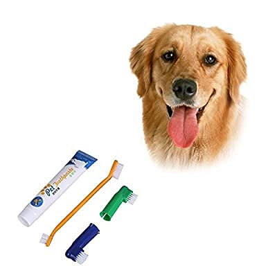 Aolvo Dog/Cat Teeth Cleaning Kit, Pet Toothbrush and Toothpaste for Dog & Cat Small Breed, Dental Hygiene Kit (Include 2 Finger Toothbrush, 1 Double Side Toothbrush, 1 Toothpaste) by Aolvo