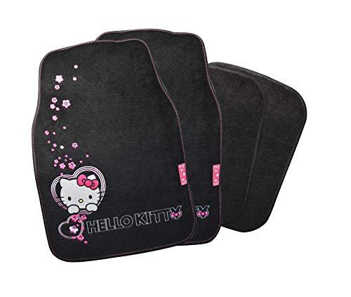 Hello Kitty Auto Fußmatten Set bestickt 4-teilig, Auto Teppich universal, Automatte rutschfest, Stoffmatten passend für fast alle Fahrzeugtypen