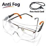 SAFEYEAR SG009 Occhiali di Protezione da Lavoro Trasparente Laboratorio Antiappannamento e Antigraffio CE EN166 Staffa di lunghezze, Altezza Regolabile