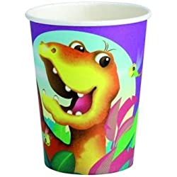 8 vasos con dinosaurios