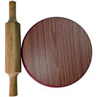 Handcraftd Wooden Chakla-Belan/Wooden Polpat-Roti Roller/Rolling Pin, 9 Inch(22 Cms, Round) - Brown