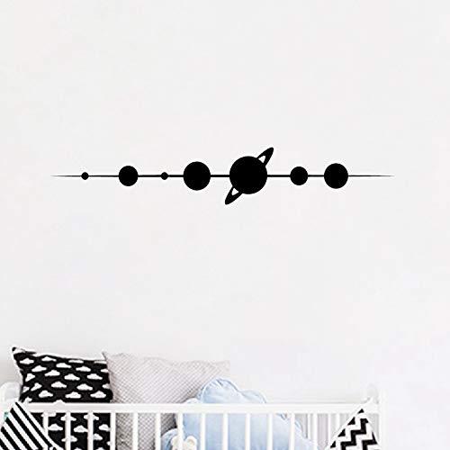 WWYJN Planets Vinyl Wall Stickers Kids Bedroom Design Decor Space Wall Decal Home Boys Room Wall Mural Art Sticker Decoration Black 126x21 cm -