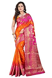 Vatsla Women's Banarasi Cotton Silk Saree With Heavy Borderwork and Blouse Piece(VBOPS1_PINK_ORANGE_COLOR
