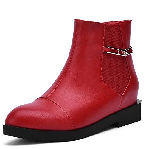 AgooLar Damen Rein Niedriger Absatz Rund Zehe Pu Leder Reißverschluss Stiefel mit Metallisch Rot