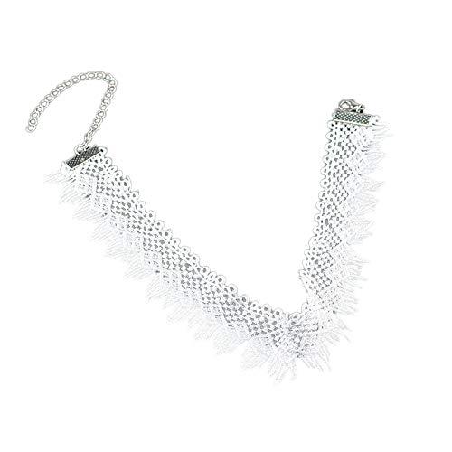 Qingsun Einfach Hohl Spitze Halskette Schwarz Gotik Halsband Kette für Mädchen Dame (Weiß)