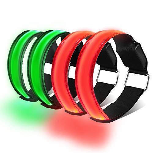 HEAWAA 4 Stück LED Reflective Armband Leucht Armbänder Wasserdicht Leuchtband Nacht Sicherheits Licht Reflektierende Armband Für Outdoor-Sport, Nachtlauf, große Festivalabende, Konzerte (Rot+Grun)