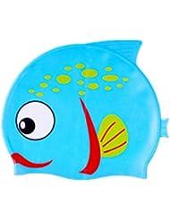 Moolecole Azul Pescado Lindo Animal Del Dibujo Animado Niños Impermeable Pu Gorro De Natación Cubierta Del Oído Gorro De Baño Con Elástico Embroma La Natación Sombrero