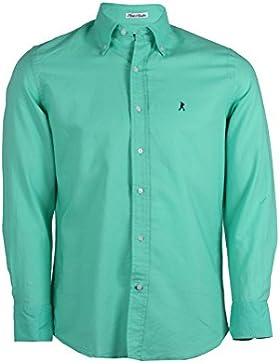 Camicia in misto lino sfiancata verde