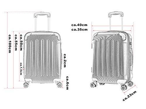 WOLTU RK4201bl, Reise Koffer Trolley Hartschale Volumen erweiterbar, Reisekoffer Hartschalenkoffer 4 Rollen, M/L/XL/Set, leicht und günstig, Blau (M, 55 cm & 42 Liter) - 5