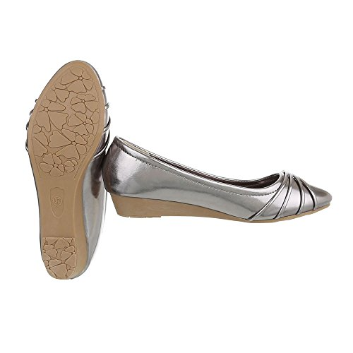Ital-Design , chaussures compensées femme Grau Silber