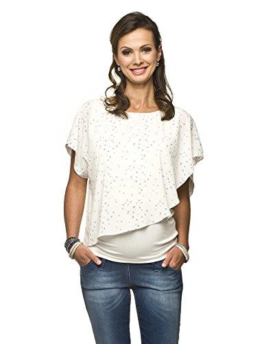 2in1 Umstandsshirt mit Stillfunktion, Modell: Elfi, Creme-Blaue Vögel, XL
