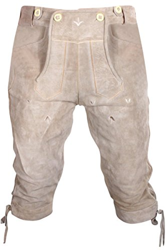 Gesteiner Leather Herren Trachten Lederhose Kniehose Wildleder Dunkelbraun Gr. 46,48,50,52,54,56,58,60 NEU ((W39/Herstellergröße 52), Schlammbraun)