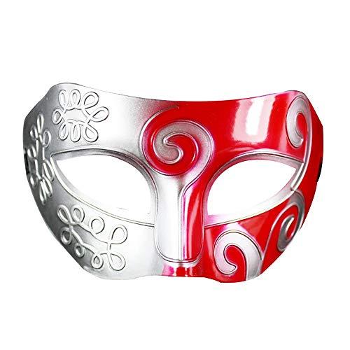 CHENGXI Halloween Zwei-Ton-Maske Partei-Maskerade-Hälfte-Gesicht Retro Leistung Props MJJ0930 (Color : Red Silver)