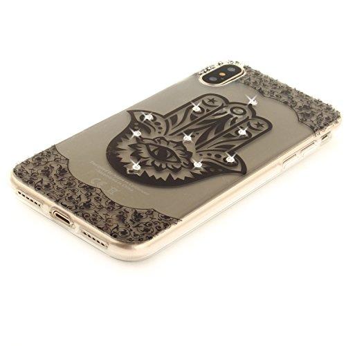 Per iPhone X,Sunrive® Custodia Cover Case in molle Trasparente Bling Glitter Strass Ultra Sottile TPU silicone Morbida Flessibile Pelle Antigraffio protettiva(occhio) occhio