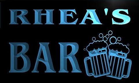 w004188-b RHEA'S Nom Accueil Bar Pub Beer Mugs Cheers Neon Sign Biere Enseigne Lumineuse