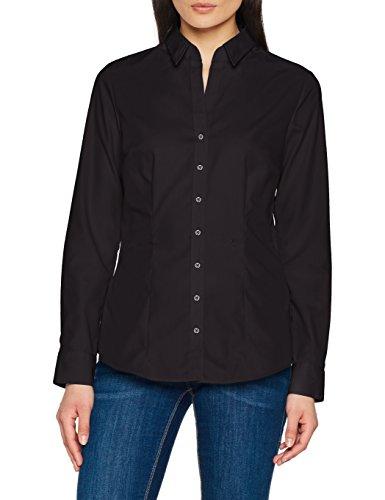 Seidensticker Damen Hemdbluse slim fit Langarm bügelfrei mit schwarzer Rose einfarbig, schwarz, 42