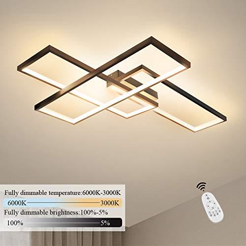 GBLY LED Deckenleuchte Dimmbar Modern Deckenlampe Schwarz Wohnzimmerlampe 74W Geometrisch Wandlampe Multifunktional Deckenbeleuchtung für Wohnzimmer, Schlafzimmer, Büro, Flur und Balkon, 67x47x9.7CM