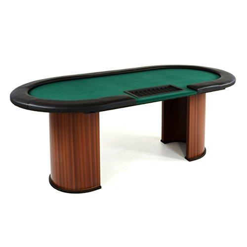 Nexos Pokertisch massiv Casinotisch aus Holz für Poker mit grünem Filzbezug Armlehnen eingelassener Chiptray für 10 Spieler