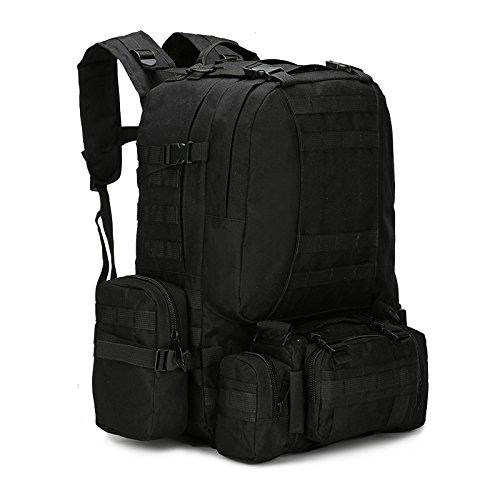 Vinteky® tactique sac à dos d'extérieur d'Assaut Militaire Sac à dos Sac à dos camping sac grand sac à dos de voyage 50L (Noir)