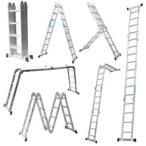 TQ 4.7M Leiter Mehrzweckleiter Klappleiter Gelenkleiter mit Plattform 4x4 Sprossen Aluleiter Multifunktionsleiter Kombileiter 6 in 1 Anlegeleiter Stehleiter aus hochwertigem Alu belastbar