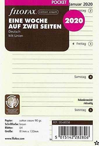 Filofax Kalendereinlage Pocket 1 Woche auf 2 Seiten cotton cream (deutsch)2020