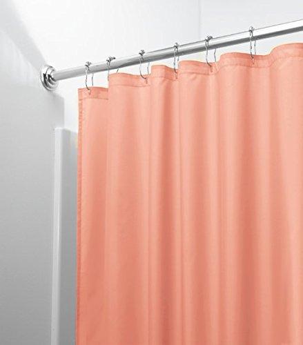 mDesign Duschvorhang Anti-Schimmel - schlichter Dusch- & Badewannenvorhang - Duschvorhang wasserabweisend - 12 verstärkte Metallösen für einfache Aufhängung - koralle