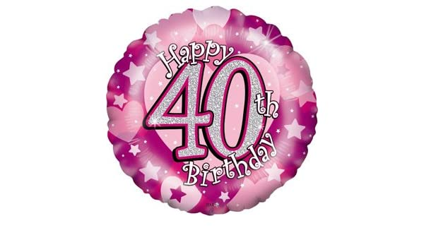 Happy 40th Birthday Girl Holographic Balloon Delivered Inflated In A Box Amazoncouk Toys Games