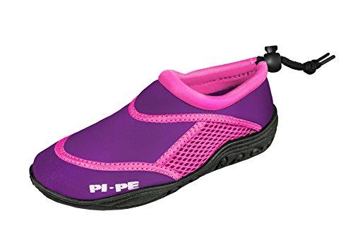 PI-PE Active Badeschuhe Kinder Jungen und Mädchen Aquashoes Schwimmschuhe (Lilac/Pink, 32)