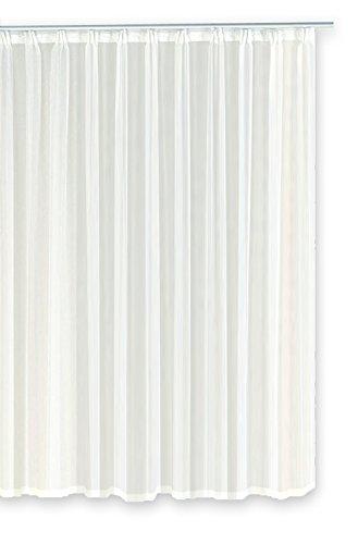 Voile Dekoschal Gardine Emotion weiß Organza Vorhang Kräuselband klassisch transparent kurz mittel oder lang Store #1309 (140x175)