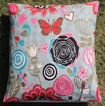 Crewel Pillow Butterfly in Bushes Pinks on Blue Cotton Duck (20X20)