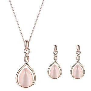 Hosaire Halskette Ohrringe Diamant Wassertröpfchen Elegante Damen Schmuckset Set Kristall Anhänger Halskette + Ohrringe (Rose)