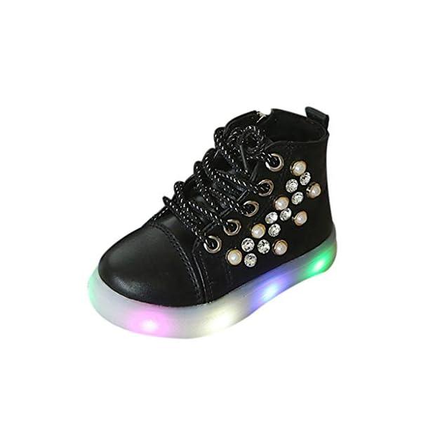 Zapatillas LED para niños Niños Baby Girls Pearl Crystal Led Light Luminous Running Sport Botas Zapatos 3