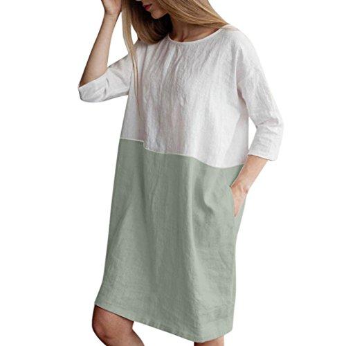 VJGOAL Las Mujeres Ocasionales del o-Cuello del Remiendo de Media Manga de Lino de algodón de Color sólido Suelta Bolsillos Vestido de la túnica (S, Verde)