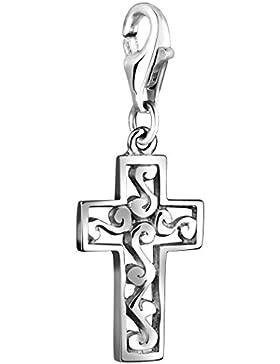 Nenalina Charm filigranes Kreuz Anhänger in 925 Sterling Silber für alle gängigen Charmträger 713020-000