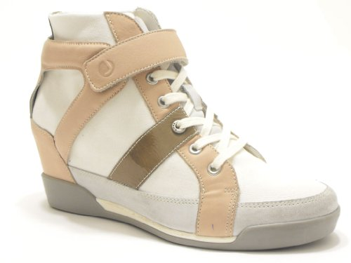 SCARPE DONNA JANET SPORT. SNEAKERS JANET SPORT IN PELLE E TESSUTO BIANCO CIPRIA NR 41