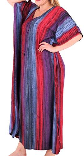 LA LEELA Frauen Damen Rayon Kaftan Tunika Tie Dye Kimono freie Größe Lange Maxi Party Kleid für Loungewear Urlaub Nachtwäsche Strand jeden Tag Kleider Orange_L256 -
