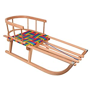 MOLTI Holzschlitten Schlitten mit Einem Gurtbandsitz Rückenlehne Kinderschlitten mit Zugseil