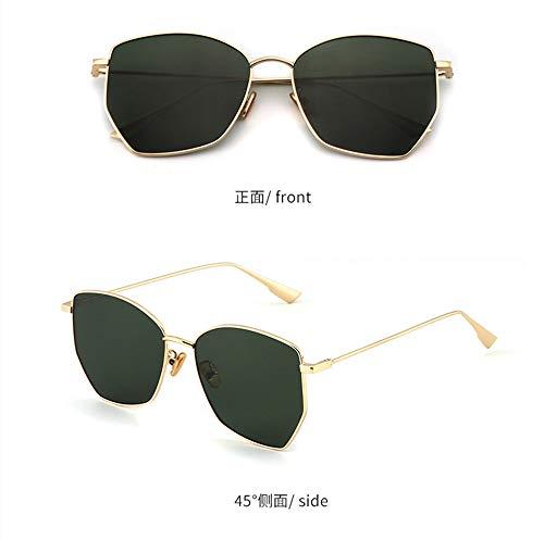 WuLL Mode Metallrahmen Verspiegelt Linse Koreanische Sonnenbrillen unregelmäßigen Polygon Sonnenbrillen weiblichen Retro-Flut Modelle schwarz super rundes Gesicht Sonnenbrille, C