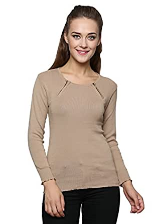 Renka Women's Beige Color Zippered Cardigans