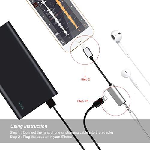 Kopfhöreranschluss für iPhone XR-Adapter Kopfhörer Audio-Splitter und Ladeanschluss für iPhone X / XS max / 7/7 Plus / 8 / 8Plus Unterstützung für Musikhören und Ladehilfe iOS 11.4 System -Sliver - 9