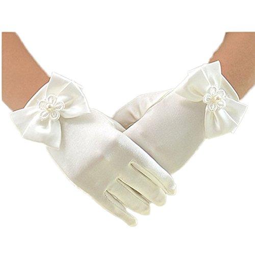 CoCogirls Prinzessin Mädchen Handschuhe elegant kurz Satin Kommunion Hochzeit Festzug Handschuhe (M, Ivory)