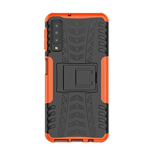 SHIEID Samsung Galaxy A7 2018-Hülle Tough Hybrid Armor Case,Diese Handyhülle Anti-Wrestling Travel Essential Faltbare Halterung für Samsung Galaxy A7 2018(Orange)