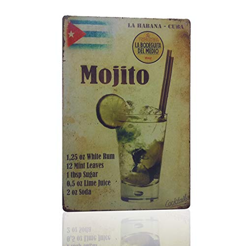 Vintage Style Home Decor (M-Mount Halter Mojito La Habana Kuba Drink Blechschild Wand Retro Metall Bar Pub Poster Vintage Style Ornament Kaffee Decor Home Geschenk Größe 8X 12)