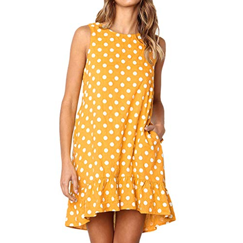 HIKO23 Damen Sommer-T-Shirt Kleider Strandkleid mit Rüschen, ärmellos Tasche, Minikleid - Mehrfarbig - Groß -