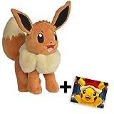 Lively Moments Pokemon Plüschtier / Kuscheltier / Plüschfigur Evoli / Eevee mit Grußkarte Weihnachtspikachu