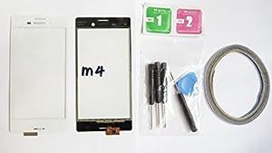 JRLinco Neu Display-Scheibe Touchscreen Digitizer Glass Ersatz Für Sony Xperia M4 Aqua E2302 Weiß + Werkzeug & Doppelseitig klebende + Reinigung Alkohol Tasche