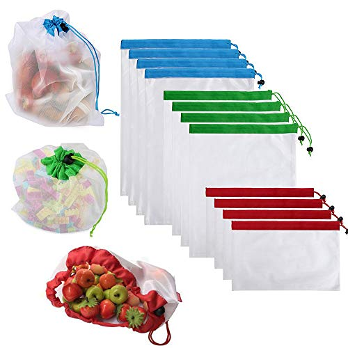 12 Wiederverwendbare Produce Taschen, Gemüsebeutel, Umweltfreundlich Netz Taschen für Einkaufen Aufbewahrung Obst Gemüse Spielzeug mit Kordelzug, leicht - Eco Tasche