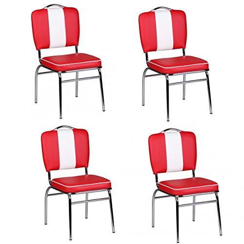 Quattro-pack // 4 pezzi sedia Set American Diner '50 Retro Bianco Rosso